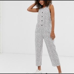 ASOS • Spotted Button up Jumpsuit 6 white black